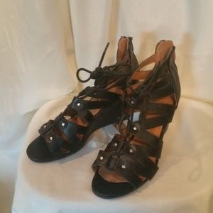 """Cato Black Wedge Lace-up 3"""" Wedge Heel - Size 8"""